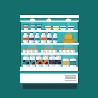 Bancarella di prodotti lattiero-caseari