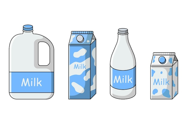 Set di latte in diverse confezioni bottiglia di cartone tanica da gallone