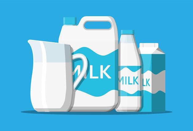 Set di latte isolato sull'illustrazione blu