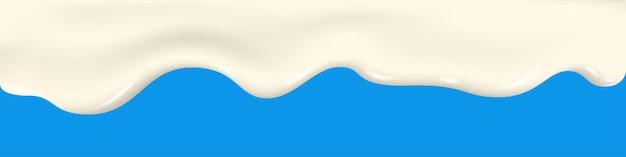 Spruzzata di latte. consistenza allo yogurt. gocciolante, liquido, gelato. glassa fluida, cioccolato bianco. sfondo vettoriale a goccia per prodotti lattiero-caseari.