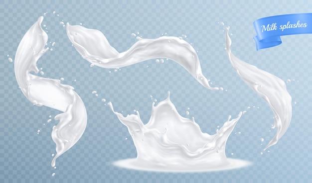 Il latte spruzza l'insieme realistico isolato