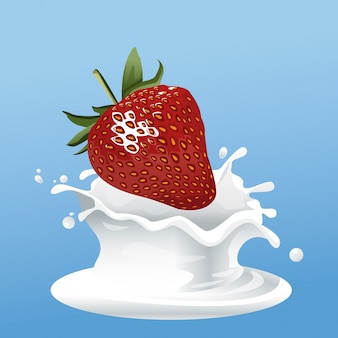 Volantino per latte e fragole Vettore Premium