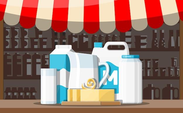 Banco di stallo del negozio del mercato di strada del latte