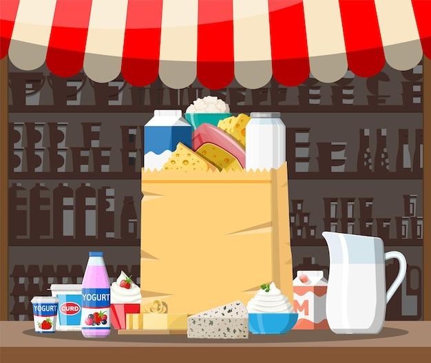 Bancarella del negozio del mercato di strada del latte