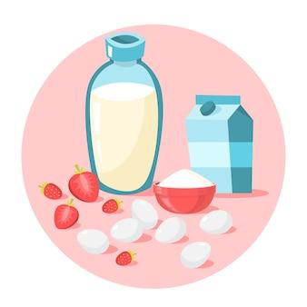 Latte, zucchero e uova. ingrediente per cucinare
