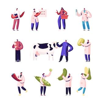 Set di produzione di produzione di latte e verdura isolato su priorità bassa bianca.