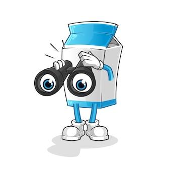 Latte con il carattere del binocolo. mascotte dei cartoni animati
