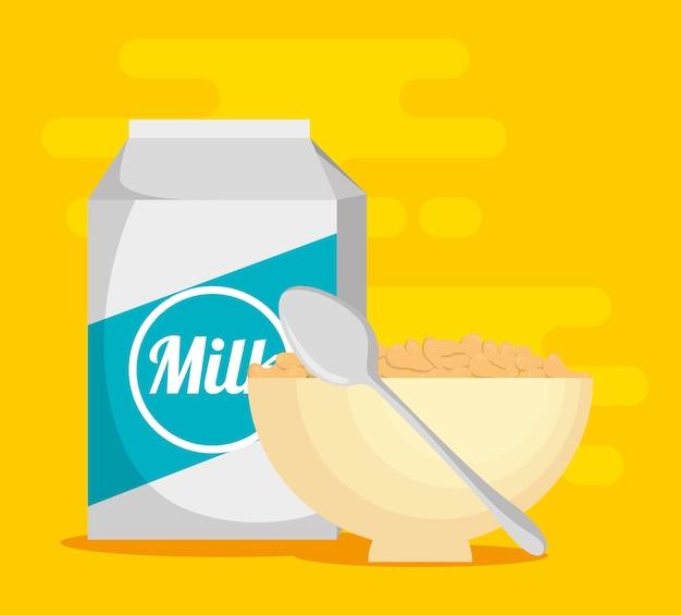 Latte con progettazione dell'illustrazione di vettore dell'alimento sano del cereale