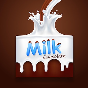 Latte con banner di arte al cioccolato. illustrazione vettoriale