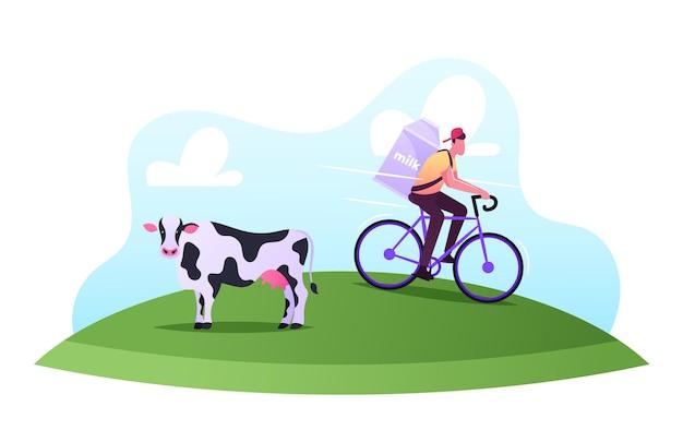 Professione del lattaio, concetto di servizio di consegna di prodotti lattiero-caseari Vettore Premium