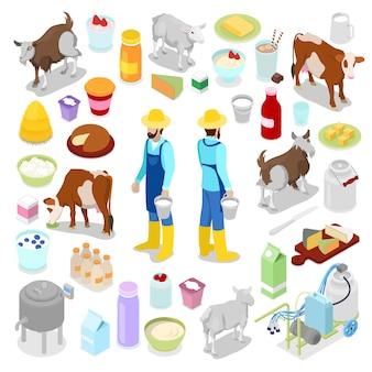 Lattaio con prodotti dell'industria del latte