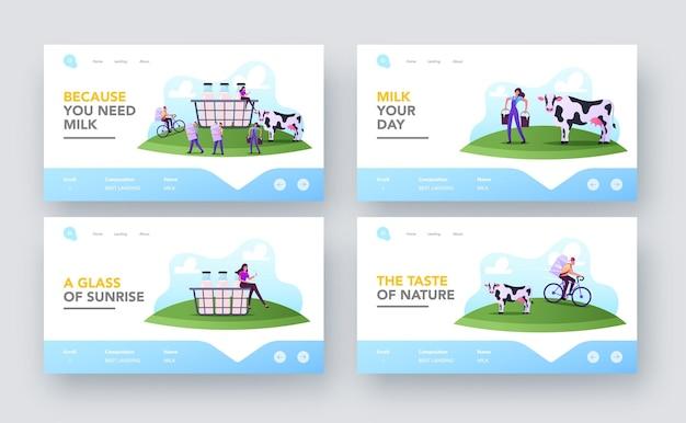Insieme di modelli di pagina di destinazione del lavoro del lattaio. personaggi che lavorano in una fattoria degli animali che mungono la mucca o che consegnano la produzione lattiero-casearia ai clienti. piccole persone al cestino enorme con latte. fumetto illustrazione vettoriale