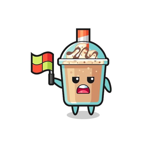 Personaggio milkshake come giudice di linea che alza la bandiera, design in stile carino per maglietta, adesivo, elemento logo