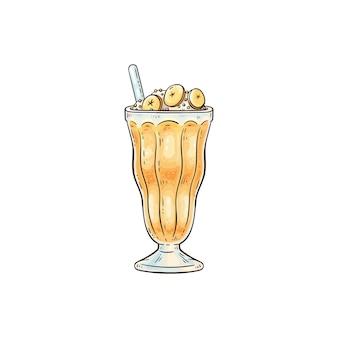 Frappè o cocktail di frutta in vetro con panna montata e icona di paglia, fumetto di schizzo. dessert dolce o frullato.