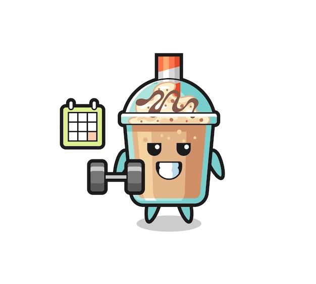 Fumetto della mascotte del frullato che fa fitness con il fumetto del personaggio del frullato con manubri con gesto scioccato, design in stile carino per t-shirt, adesivo, elemento logo