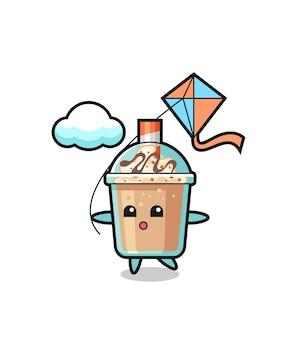 L'illustrazione della mascotte del frullato sta giocando a un aquilone, un design in stile carino per maglietta, adesivo, elemento logo