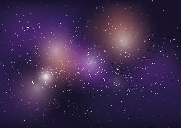 Sfondo galassia via lattea con stelle e nebulosa.
