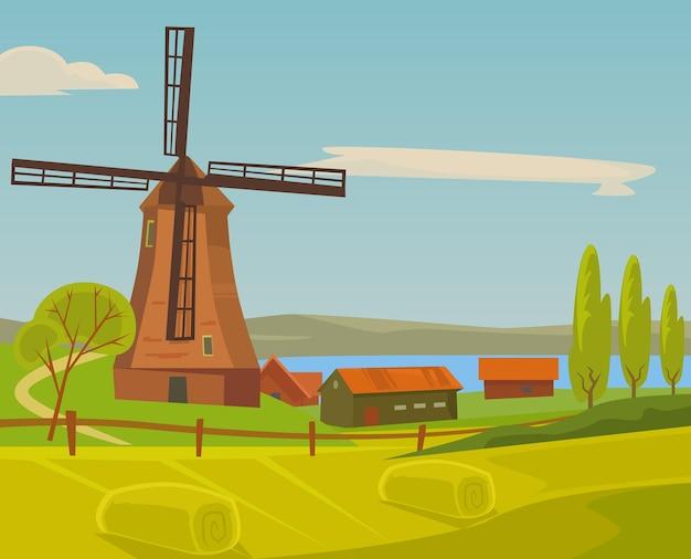 Illustrazione del paesaggio dell'azienda agricola del mulino