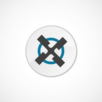 Icona del mulino 2 colorata, grigia e blu, distintivo del cerchio