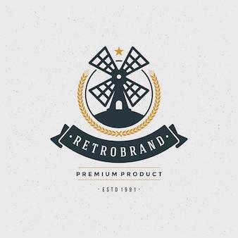 Elemento di design del logo del mulino in stile vintage