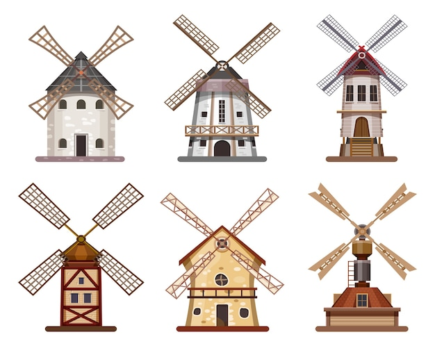 Mulino o mulino a vento in legno di grano e farina da costruzione, icone isolate.