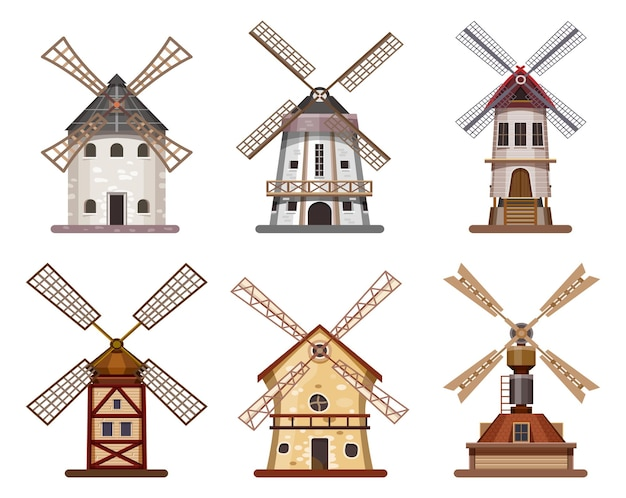Mulino o mulino a vento in legno di grano e farina da costruzione.