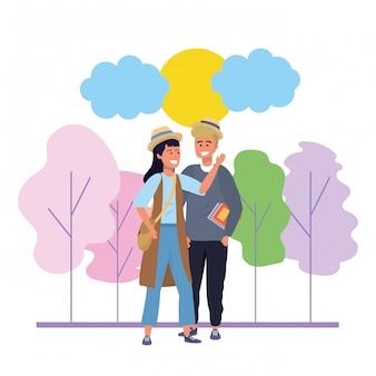 Illustrazione millenaria della natura della data delle coppie