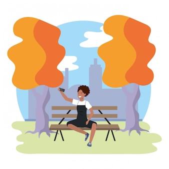 Illustrazione millenaria del banco di parco dello studente