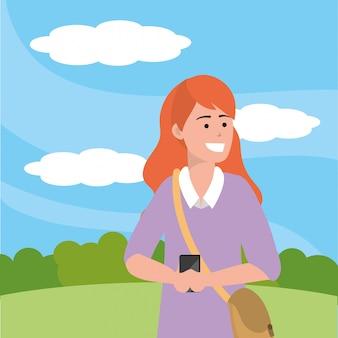 Studente millenario che prende l'illustrazione del selfie
