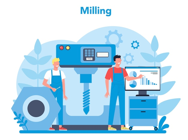 Miller e illustrazione del concetto di fresatura. ingegnere di perforazione di metalli con fresatrice, produzione di dettagli. tecnologia industriale. illustrazione vettoriale piatto isolato