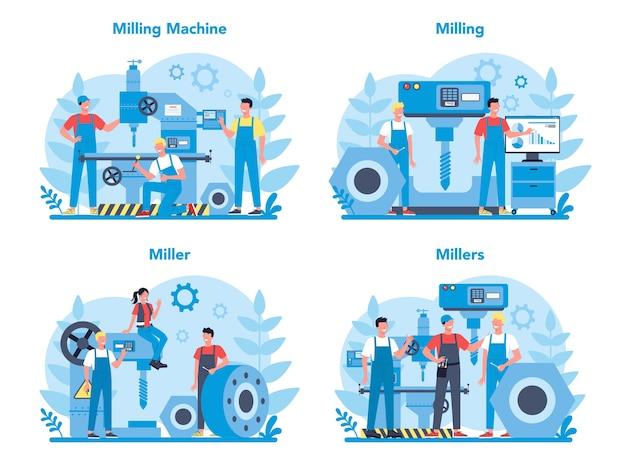 Miller e set di concetti di fresatura. ingegnere di perforazione di metalli con fresatrice, produzione di dettagli. tecnologia industriale.