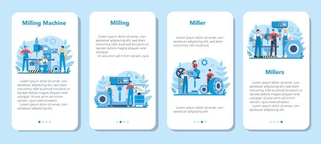 Set di banner per applicazioni mobili miller e fresatura. ingegnere di perforazione di metalli con fresatrice, produzione di dettagli. tecnologia industriale.