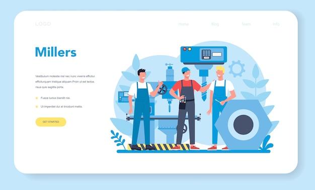 Miller e pagina di destinazione web di fresatura. ingegnere di perforazione di metalli con fresatrice, produzione di dettagli. tecnologia industriale. illustrazione vettoriale piatto isolato