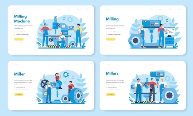 Miller e set di pagine di destinazione web di fresatura. ingegnere di perforazione di metalli con fresatrice, produzione di dettagli. tecnologia industriale. illustrazione vettoriale piatto isolato
