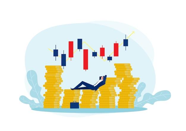 Soldi ricchi dell'uomo d'affari milionario con il commercio di borsa del mercato