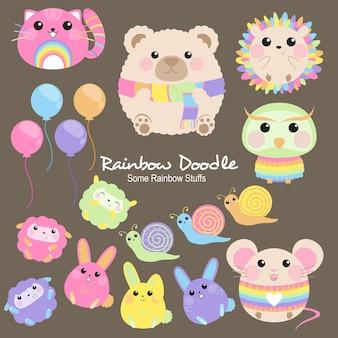 Doodle di oggetti arcobaleno milo