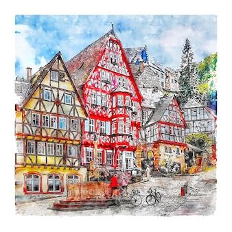 Illustrazione disegnata a mano di schizzo dell'acquerello di miltenberg germania