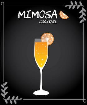Vettore dell'illustrazione del cocktail della mimosa