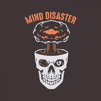 Cranio di disastro mentale con testa di esplosione