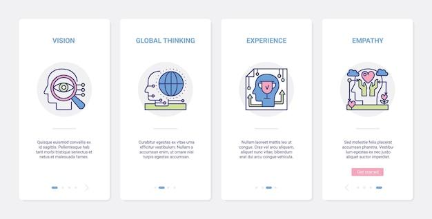 Processi di esperienza mentale nella testa umana, ux, set di schermate della pagina dell'app per dispositivi mobili di onboarding dell'interfaccia utente