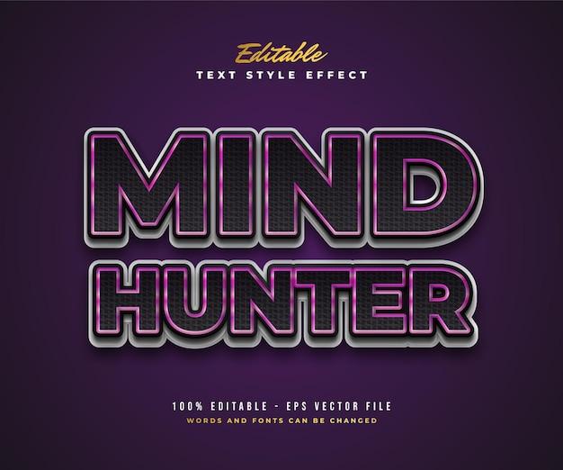 Stile di testo mind hunter in nero, viola e bianco con effetto texture. effetto stile testo modificabile