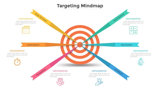 Mappa mentale con 6 elementi a forma di freccia al centro del bersaglio. modello di progettazione infografica moderna. illustrazione vettoriale piatta per la visualizzazione degli obiettivi aziendali raggiunti, presentazione della strategia di marketing.