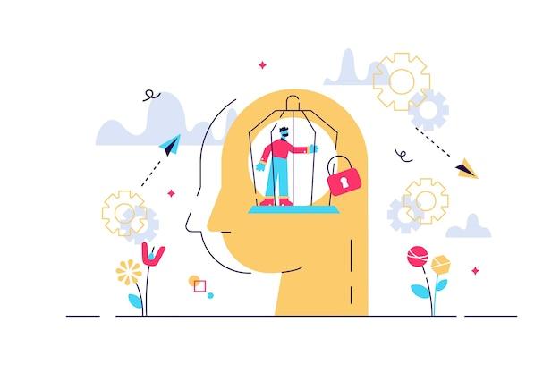 Illustrazione di concetto di prigione di mente
