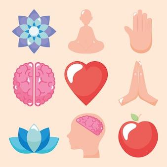 Collezione di icone di consapevolezza e yoga