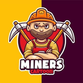 Modello logo mascotte minatore crypto