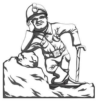 Strumento e attrezzatura del minatore in azione. personaggi dei cartoni animati, immagine in bianco e nero.