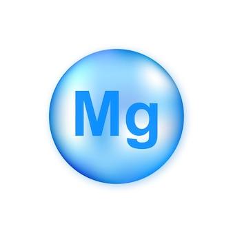 Minerale mg magnesio blu brillante capsula pillola isolata su sfondo bianco.