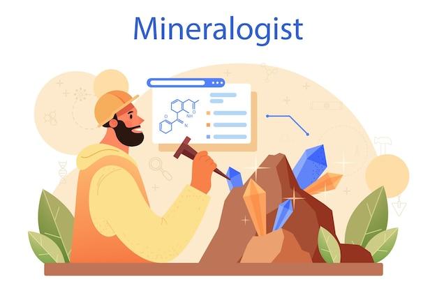 Concetto di mineralogista. scienziato professionista che studia la pietra naturale e la struttura minerale. estrazione di pietre per gioielleria e reazione chimica. illustrazione vettoriale isolato