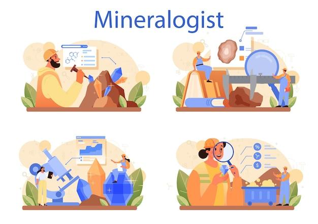 Insieme di concetto di mineralogista. scienziato professionista che studia la pietra naturale
