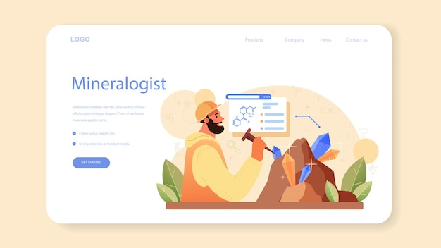 Banner web o pagina di destinazione del mineralogista. scienziato professionista